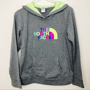 North face gray hoodie rainbow spell out size M